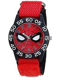 MARVEL 男童蜘蛛侠石英塑料尼龙休闲手表,颜色:红色(型号:WMA000186)