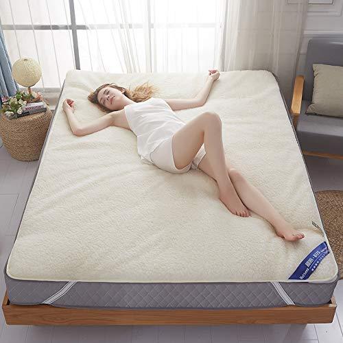 宝被 羊毛床垫加厚双人床褥子1.8m榻榻米1.5m床防滑软垫被垫子 羊毛床垫-短毛款 单人床120x200cm