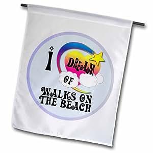 3dRose fl_166188_1 可爱女孩心形星云朵 i Dream of Walks on The Beach Garden 旗,30.48 x 45.72 cm