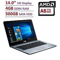*新华硕 14 英寸高清 (1366x768) 背光显示笔记本电脑,AMD A6-9225 2.6GHz APU,4GB DDR4 SDRAM, 500GB 硬盘,立体声扬声器,USB 3.0,HDMI,WiFi,蓝牙,Windows 10,选择您的SD卡