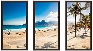 """Picture Perfect International 704-2223-1224 """"Rio De Janeiro Brazil"""" Framed Plexiglass Wall Art, Set of 3, 13.5"""" W x 25.5"""" H x 1"""" D"""