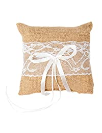 senover 乡村婚戒枕环轴承枕头套靠垫 8 英寸婚礼典礼(A)