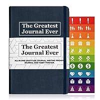 男士和女士日常書寫日記。 Best Self-Care Journal 、感恩日記、指導日記、手寫提示日記、心情、幸福和積極性的啟發日記。 藍色日記。