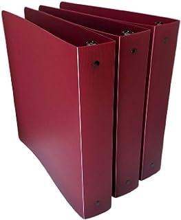 3 件装 Aurora 聚乙烯活页夹,1 英寸纳帕谷酒红色圆形环,细条纹不透明