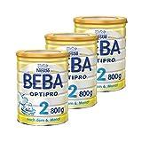 Nestlé BEBA雀巢贝巴 OPTIPRO 2段初始后续奶粉 适合6个月以上婴幼儿 3罐装 (3 x 800 g)(不含助溶剂,冲泡需用力摇,冲后有结晶非品质问题,请放心食用)