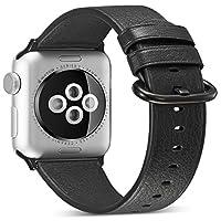 WOOZU沃卒 苹果手表表带 Apple Watch 表带 Apple Watch 42/44mm真皮表带赠配透明表壳 iWatch表带 苹果Apple Watch 3/2/1表带 柔软真皮散热透气 (42/44mm纯黑)