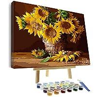 Vigeiya 40.64 x 50.8 cm 油画数字适合成人初学者,包括带框画布和木画架,带画笔和丙烯酸颜料 向日葵 16*20in