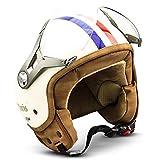 SOXON SP-325 机车头盔 Jet-Helmet 复古 Bobber Mofa Cruiser 复古 Pilot Chopper Vespa-头盔 自行车头盔 滑板车头盔 ECE 认证 包括 遮阳板,包括 布袋 L (59-60cm) Sp325 Paris - L