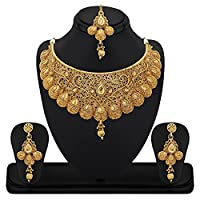 Gold plated Necklace Set with Maang Tikka.