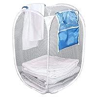 Clorox 网状弹出式方形洗衣篮带口袋 | 可折叠设计,易于存放 | 58.42 x 35.56 厘米 | 便携式折叠篮 | 适用于大学、宿舍和公寓,白色