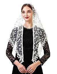 Pamor Triangle 蕾丝面纱天主教堂 Mantilla 大教堂 头部覆盖教堂面纱 适合大规模婚礼伴娘