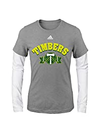 MLS Portland Timbers Girls -Folded Ribbon Long sleeve Layered Tee, Heather Grey, Large (14)