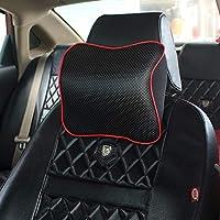 汽车头枕车用靠枕座椅枕头车载车内用品护颈枕记忆棉颈枕(黑色红边)-单个