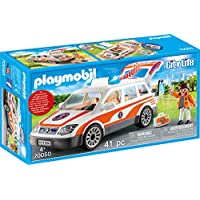 Playmobil 摩比世界 City Life 70050 急救车,带车灯和声音,适合4岁以上