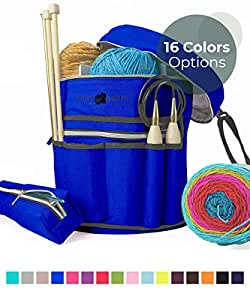 Stitch Happy Designer 针织袋纱存储带 7 个多用途口袋和超大拉链口袋用于钩针用品内部收纳袋保护钩针线羊毛纱 深蓝色 SH:Ybag-COBALT