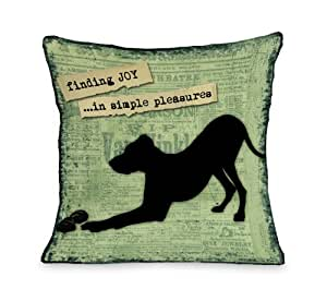 Bentin Pet Decor Finding Joy in Simple Pleasures Throw Pillow, 18 by 18-Inch
