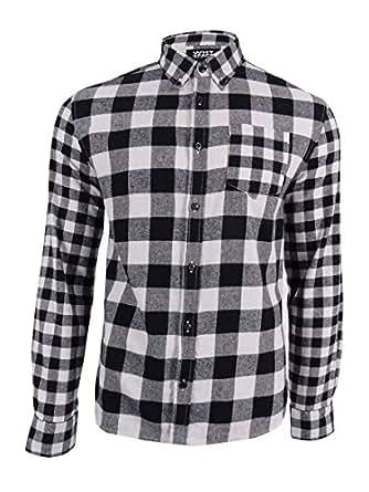 Shaun White 男士系扣格子法兰绒衬衫黑色 XL 码