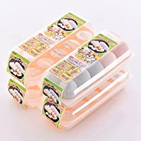 日本进口10格鸡蛋收纳盒冰箱保鲜储物盒可叠加鸡蛋托 4个装包装盒