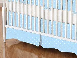 SheetWorld - 婴儿床裙 (71.12 x 52) - 淡蓝色室内编织 - 美国制造