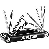 ARES 44000-10 件防篡改折叠星形钥匙套装 - 尺寸包括 T-6 到 T-30 - 耐腐蚀 CR-V 钢结构