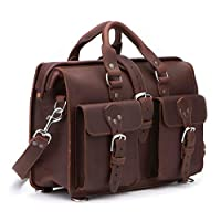 Saddleback Leather Co. Flight Bag 15 英寸全粒面皮革可扩展笔记本电脑公文包 含100 年保修01-10-0023-MD-CH-NP