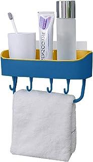 Kabinga 2 男女通用毛巾架排水多功能双色无缝带可拆卸挂钩,适用于浴室,厨房,蓝色,L