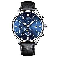 boyzhe 男式自动机械运动手表月亮阶段日历时尚休闲商务皮带手表