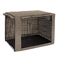 TUYU 狗笼盖,狗笼盖,耐用宠物狗窝盖,完美的双入口狗笼盖,适用于钢丝笼室内室外保护 米色 25x19x20 inches