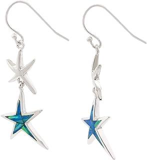 PORI JEWELERS 纯银 2 层人造蛋白石海星吊坠耳环 - 女式 - 鱼钩