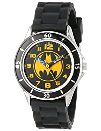 Batman 兒童模擬手表銀色外殼,黑色邊框,黑色表帶 - 表盤上印有官方黃色/黑色蝙蝠俠標志,Time-Teacher 手表,兒童* - 型號:BAT9152
