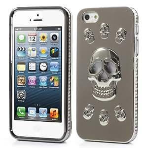JUJEO 两件式 Snap-On 酷炫 3D 骷髅电镀硬质后盖 iPhone 5/5S - 非零售包装 - 银色