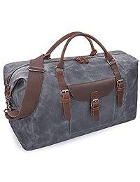 超大旅行旅行包防水帆布周末皮革夜间手提包