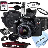 Canon 佳能 EOS Rebel T7 数码单反相机 18-55mm f/3.5-5.6 变焦镜头 + 32GB 卡、三脚架、外壳等(18 件套)