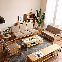 致林 实木沙发 布艺北欧进口沙发 休闲新中式 客厅家具 单+三人位沙发(原木色)(亚马逊自营商品, 由供应商配送)