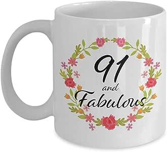91 and Fabulous 马克杯 - 91 岁女性的生日礼物 1928 年生于 1928 年 - *佳独特的白色陶瓷咖啡杯 姐妹妻子 妈妈 祖母 Nana Aunt 白色 11oz DD-CM-W-002755-11