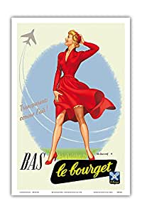 "BAS Le Bourget Paris - 袜子 - 透明 comme l'air (透明,如空气) - Charles Lemmel 创作的复古广告海报 1953 - 艺术大师印刷 12"" x 18"" PRTB4622"