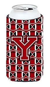 Caroline's Treasures CJ1073-ZLITERK Letter Z Football Red, Black and White Wine Bottle Koozie Hugger, 750ml, Multicolor