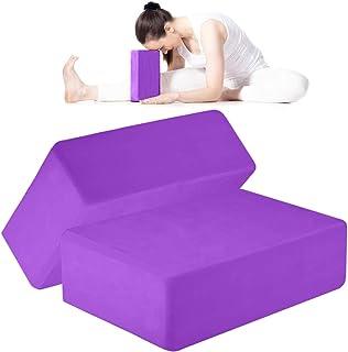 ANJUU 瑜伽砖 2 件装 高* EVA 泡沫块,防滑表面软木瑜伽砖 9 英寸 x 6 英寸 x 3 英寸(约 22.9 厘米 x 15.2 厘米 x 7.6 厘米)环保 EVA 泡沫锻炼块套装,改善瑜伽/普拉提/冥想 - 紫色
