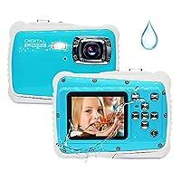 儿童相机,12MP 高清 3M 儿童防水相机,带 2.0 英寸液晶显示屏,8 倍数码变焦防水数码相机,适用于儿童,闪光灯和麦克风,适合男孩女孩的礼物(蓝色)