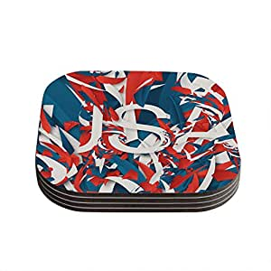 """Kess InHouse Danny Ivan """"USA"""" World Cup Coasters, 4 by 4-Inch, Red/Blue, Set of 4"""