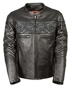 Milwaukee Leather 男式交叉立领摩托车夹克,带反光骷髅头和两个内侧枪口袋 X大码 黑色 MLM1500-BLK-XL