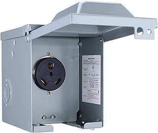 Miady 30 安培 125 伏 RV 电源插座盒,封闭式可锁定防风雨户外电气 NEMA TT-30R 插座面板 30-AMP