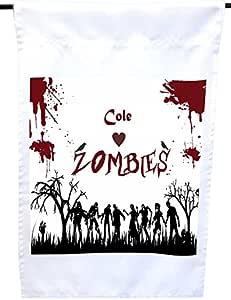 """Rikki Knight""""Cole Loves Rombies on Red Grunge 个性化带名字的房子或花园旗帜,30.48 x 45.72 cm 旗帜尺寸带有 27.94 x 27.94 cm 的图像"""