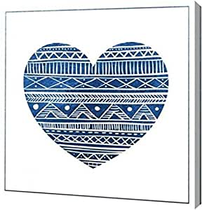 PrintArt GW-POD-23-VB-SQ-078A-30x30 靛蓝部落心形 2.54 厘米,76.2 厘米 x 76.2 厘米