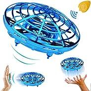 TURNMEON 手动迷你无人机 节日生日礼物送给男孩女孩,两个速度自动回避障碍物360°旋转飞球玩具户外室内游戏(蓝色)