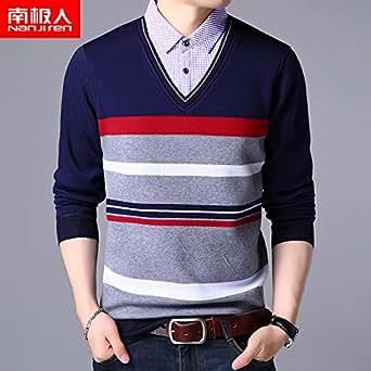 南极人针织衫男秋冬青年男士假两件加绒线衫休闲毛衣打底上衣男装581红色 180/2XL