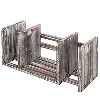 可扩展木质桌面书架/可调节收纳架陈列架,白色 M 扭转木