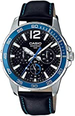 Casio MTD330D-1A2V 男式海洋运动皮革表带 50M 多功能黑色表盘手表