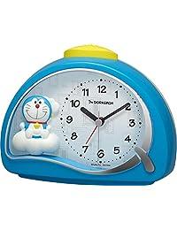 Rhythm 丽声钟表工业 桌面时钟 蓝色 11.4×15.2×7.5 厘米 闹钟 I'm 哆啦 A 梦 电子音闹钟 4SE561DR04
