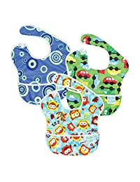 Bumkins 防水围嘴 3 只装,男孩(B5-蓝色气泡图案/猫头鹰图案/汽车图案)